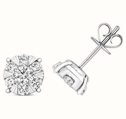 Treasure House 18k White Gold Diamond Stud Earrings EDQ326W