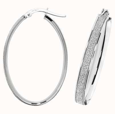 Treasure House 9k White Gold Oval Hoop Earrings ER1023W-V4