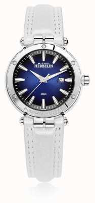 Michel Herbelin   Womens Newport   White Leather Strap   Blue Dial   14288/AP15BLA