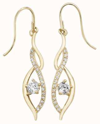 Treasure House 9k Yellow Gold Cubic Zirconia Drop Earrings ES537