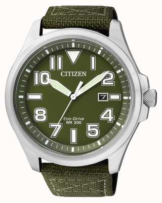 Citizen | Mens Eco-Drive | Green Nylon Strap | Green Dial | AW1410-32X