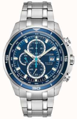 Citizen | Mens Eco-Drive Titanium WR100 | Blue Chronograph Dial | CA0349-51L