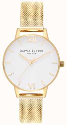 Olivia Burton | Womens | Gold Mesh Bracelet | White Dial | OB16MDW35