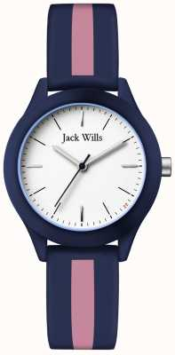 Jack Wills | Womens Union | White Dial | Navy/Pink Silicone Strap | JW008BLPST