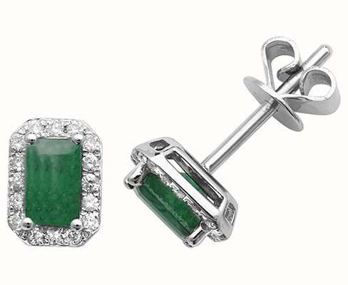 Treasure House 9k White Gold Octagon Emerald Diamond Stud Earrings ED251WE