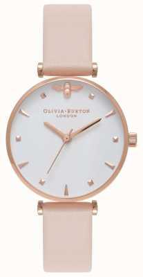 Olivia Burton | Womens | Queen Bee | Nude Peach T Bar Leather Strap | OB16AM95