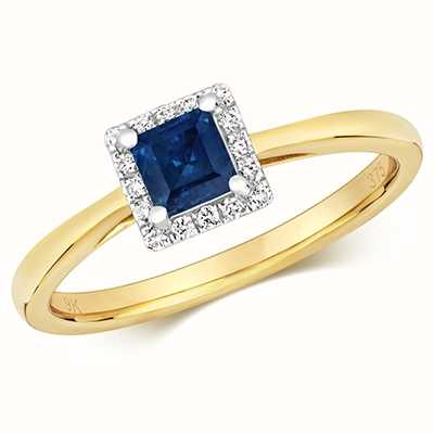 Treasure House 9k Yellow Gold Sapphire Diamond Square Ring RD411S