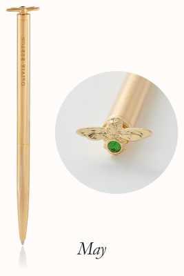 Olivia Burton | Celebration Stones Bee | Gold | Green Agate | Pen | OBACS34