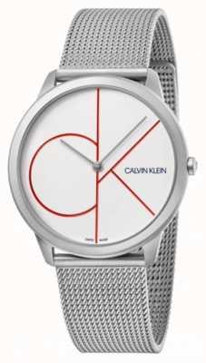 Calvin Klein Minimal | Silver Mesh Bracelet | White Dial | K3M51152