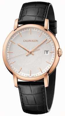 Calvin Klein | Mens Minimal | Black Leather Strap | White Dial | K9H216C6