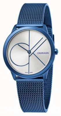Calvin Klein Minimal | Blue Mesh Bracelet | Silver Dial | K3M52T56