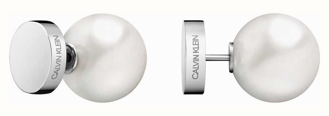 Calvin Klein   Bubbly Silver Stainless Steel White Pearl Stud Earrings   KJ9RME040600