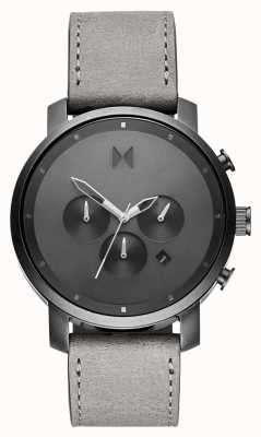 MVMT Chrono 45mm Monochrome | Grey Leather Strap | Grey Dial D-MC01-BBLGR