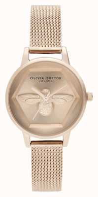 Olivia Burton | 3D Bee Charity Watch | Rose Gold Mesh Bracelet | OB16AM170