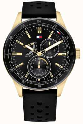 Tommy Hilfiger | Men's Black Rubber Strap | Black Dial | 1791636