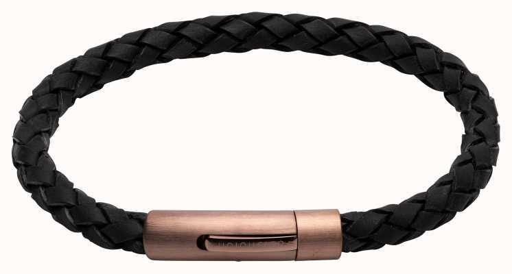 Unique & Co Black Leather | Matte Brown IP Clasp | Bracelet B441BL/21CM