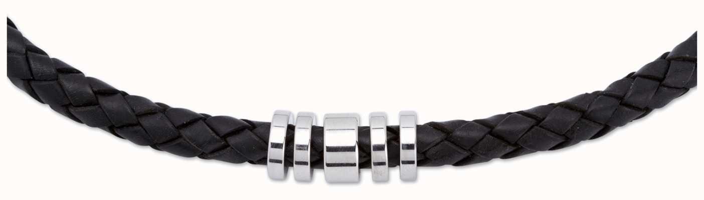 Unique & Co Black Leather |  Steel Elements |  Necklace K49BL/50CM