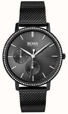 Boss | Women's Infinity | Black Mesh Bracelet | Black Sunray Dial 1502521
