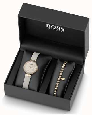 Boss Women's Leather Crystal Set Watch And Bracelet Set 1570094