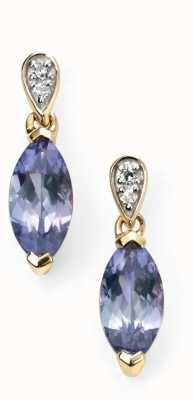 Elements Gold 9ct Yellow Gold Tanzanite Diamond Marquise Drop Earrings GE2037M