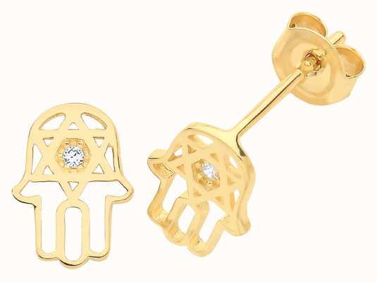 Treasure House 9ct Gold Hamsa Hand Cz Stud Earring ES1604