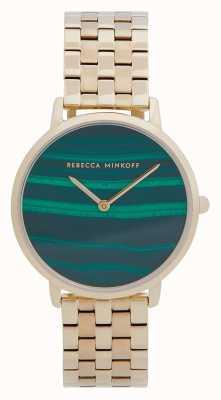 Rebecca Minkoff Women's Major   Gold Plated Steel Bracelet   Malachite Dial 2200373