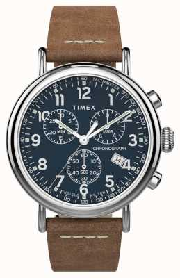 Timex | Standard Chrono 41mm | Brown Leather Strap | Blue Dial | TW2T68900