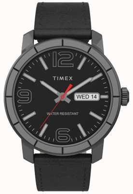 Timex | Men's Mod 44mm | Black Leather Strap | Black Dial | TW2T72600