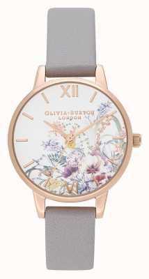 Olivia Burton | Womens | Enchanted Garden | Grey Lilac Leather Strap | OB16EG150