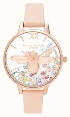 Olivia Burton | Womens | Enchanted Garden | 3D Bee | Peach Leather Strap | OB16EG151