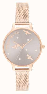 Olivia Burton | Womens | Pearly Queen | Rose Gold Mesh Bracelet | OB16PQ04