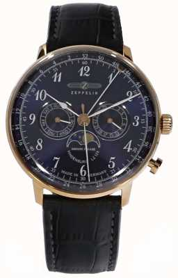 Zeppelin | Hindenburg Moonphase | Blue Leather Strap | 7038-3