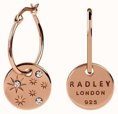 Radley Jewellery Star Gazing   Rose Gold Scattered Stone Disc Hoop Earrings RYJ1108