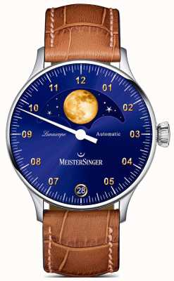 MeisterSinger Lunascope | Blue Dial | Brown Leather Strap LS908G