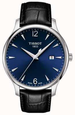 Tissot   Men's Tradition   Black Leather Strap   Blue Dial   T0636101604700