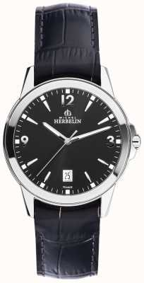 Michel Herbelin Mens Ambassador Leather and Stainless Steel Case 12250/14