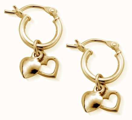 ChloBo Small Gold Double Heart Hoop Earrings GEH1068