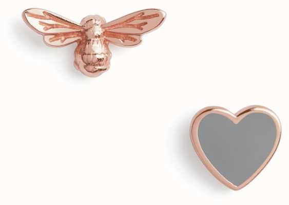 Olivia Burton   You Have My Heart   Grey And Rose Gold   Stud Earrings   OBJLHE45