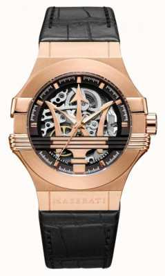 Maserati Potenza | Black Leather Strap | Rose Gold PVD Plated Case | R8821108030