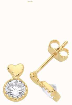 Treasure House 9ct Gold Cz Heart Drop Stud Earrings ES1603