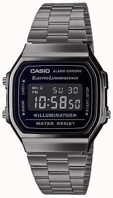 Casio | Vintage | Silver Stainless Steel Bracelet | Black Dial | A168WEGG-1BEF