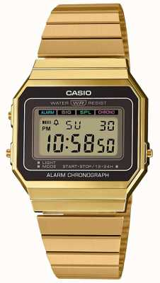 Casio | Collection | Gold Plated Steel Bracelet |Digital Dial A700WEG-9AEF