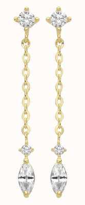 Treasure House 9ct Gold  Cz Drop Stud Earrings ER1163