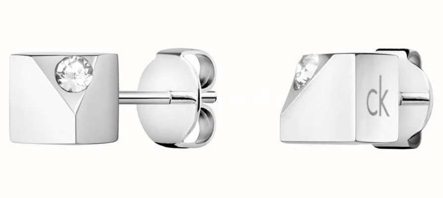 Calvin Klein Tune   Stainless Steel Crystal Stud Earrings KJ9MME040600