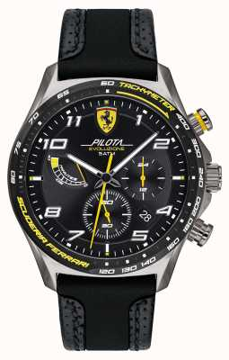 Scuderia Ferrari | Men's Pilota | Black Silicone/Leather Strap | Black Dial 0830718