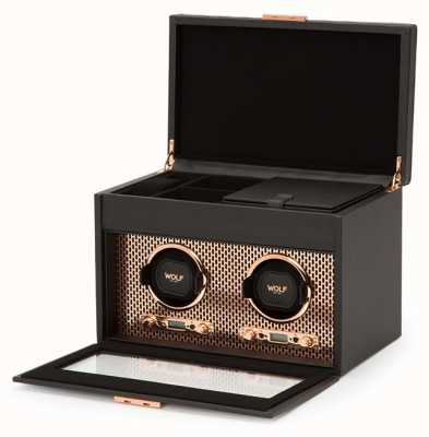 WOLF Axis Copper Double Watch Winder With Storage And Travel Case 469316