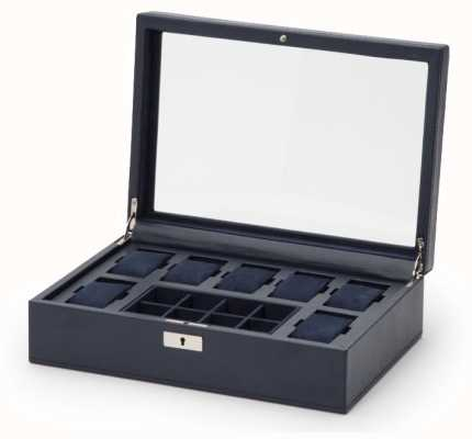 WOLF Howard Navy 7Pc Watch Box With Tray 465217