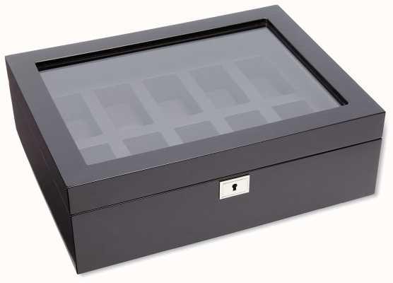 WOLF Savoy Black 10Pc Watch Box 461670