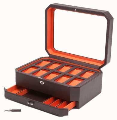 WOLF Windsor Brown/Orange 10Pc Watch Box With Drawer 458606