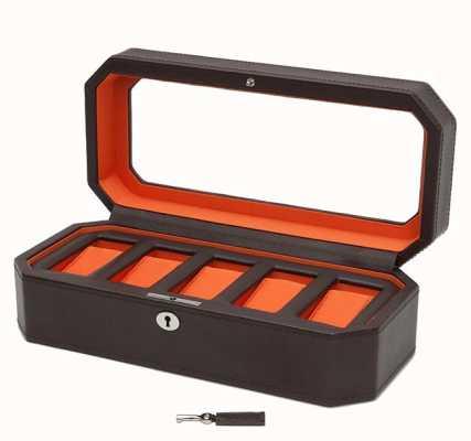 WOLF Windsor Brown/Orange 5Pc Watch Box 458306